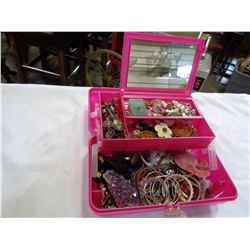 PINK JEWELRY BOX W/ CONTENTS