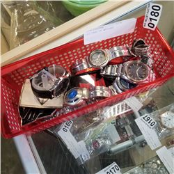 RED TRAY OF WATCHES