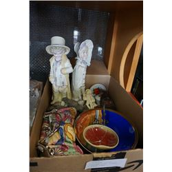 BOX OF BISQUE FIGURES, COLLECTIBLE CHINA, FIGURES, AND BEADED PURSE