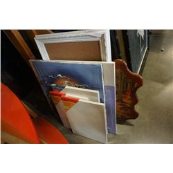 LOT OF NEW CANVASES, CORK BOARD, PAINTING, AND BURL PICTURE
