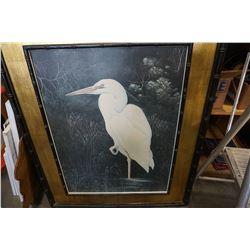 LARGE FRAMED EASTERN BIRD PICTURE