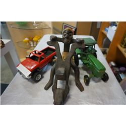 AFRICAN STYLE WOOD CARVING MAN ON MOTORCYCLE, JOHN DEERE TRACTOR TOY AND TOY TRUCK