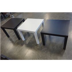 2 BLACK AND 1 WHITE IKEA END TABLES