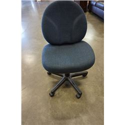 BLUE AND BLACK GAS LIFT OFFICE CHAIR