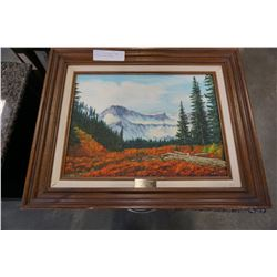 SIGNED OIL ON CANVAS TABLE MOUNTAIN MOUNT BAKER