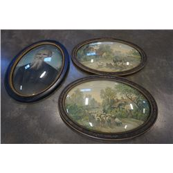 OVAL DOME GLASS ANTIQUE PAINTINGS