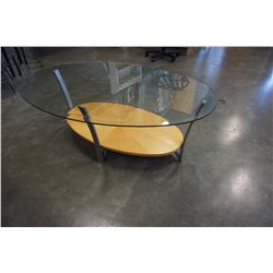 MAPLE AND METAL GLASSTOP COFFEE TABLE