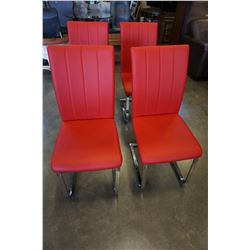 4 RED LEATHER AND CHROME DINING CHAIRS