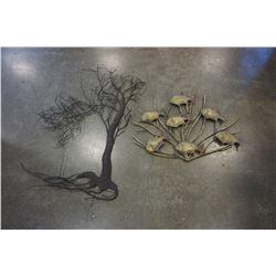 METAL FISH AND TREE WALL ART