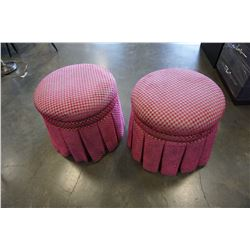 2 TUFTED PINK CHECKERED FOOTSTOOLS