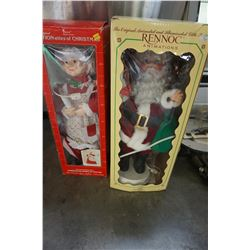 LOT OF 2 ANIMATED MR AND MRS CLAUS