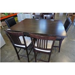 MODERN DINING TABLE W/ JACK KNIFE LEAF AND 4 BAR STOOLS