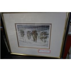 DON LILIGER WOLF PACK IN SNOWSTORM SIGNED PRINT