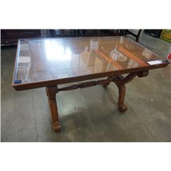 SMALL CARVED GLASS TOP COFFEE TABLE