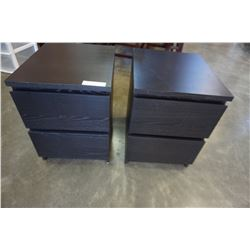 PAIR OF ESPRESSO FINISH 2 DRAWER NIGHT STANDS