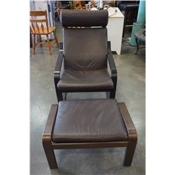 BROWN LEATHER BENTWOOD IKEA CHAIR W/ FOOT STOOL