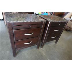 PAIR OF 2 DRAWER STONE TOP END TABLES ONE WITH REPAIRED TOP