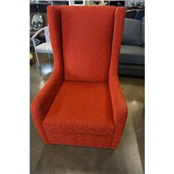 RED UPHOLSTERED TALL BACK ACCENT CHAIR