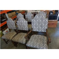 SET OF 6 ANTIQUE OAK AND UPHOLSTERED DINING CHAIRS