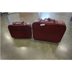 2 PIECE VINTAGE RED LEATHER SUITCASE AND CARRY BAG