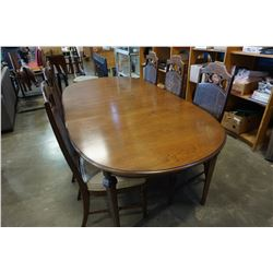 WALNUT OVAL DINING TABLE W/ 6 CHAIRS