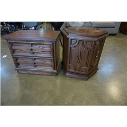 WALNUT HEXAGON END TABLE AND 2 DRAWER END TABLE
