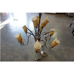 LARGE CHANDELIER WITH GLASS FLOWER SHADES