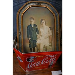 COCA COLA METAL TIN AND ANTIQUE PAINTING