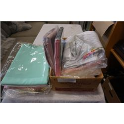 BOX OF SHEETS AND TABLE CLOTH