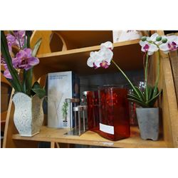 LOT OF GLASS VASES, WATERING GLOBES, AND ARTIFICIAL PLANTS
