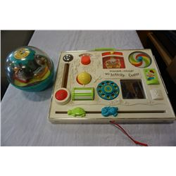 VINTAGE FISHER PRICE ROLY POLY CHIME BALL FROM 1966 AND ACTIVITY CENTER