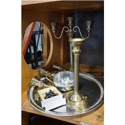 CANDELABRA CANDLESTICKS AND MOTHER OF PEARL INLAID TRAY W/ BOWL AND HEMATITE BUTTERFLY NECKLACE
