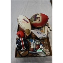 TRAY OF FOOT BALL COLLECTIBLES AND BOBBLES HEADS