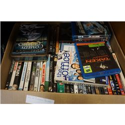 LARGE BOX OF BLURAYS AND DVDS