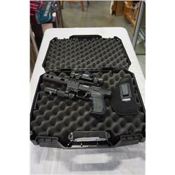 WALTHER NIGHTHAWK CO2 PELLET PISTOL IN HARD CASE WITH ACCESSORIES, RED DOT, FLASHLIGHT, SUPRESSOR