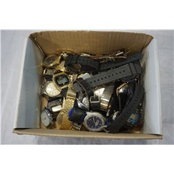 BOX LOT OF ASSORTED WATCHES, STRAPS, ETC