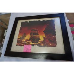 LIMITED RELEASE LITHOGRAPH OF SHIPS OF PIRATES OF CARIBBEAN MOVIES WITH CERTIFICATE OF AUTHENTICITY