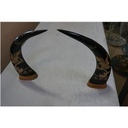 HAND CARVED BUFFALO HORNS