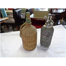 METAL WRAP ANTIQUE SELTZER BOTTLE AND WICKER WRAPPED BACARDI LIQUOR BOTTLE