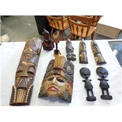 LOT OF CARVED AFRICAN WOOD ART