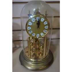 WEST GERMANY ANTIQUE GLASS DOME MECHANICAL CLOCK