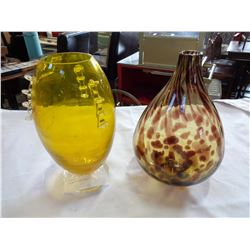 2 BLOWN GLASS VASES