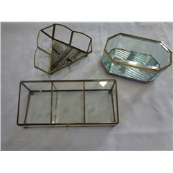 3 ETCHED GLASS DISPLAY CASES