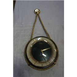 GERMAN SOLAR ANTIQUE HANGING CLOCK WITH KEY