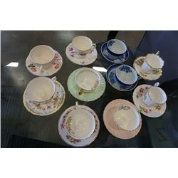 VARIOUS ANTIQUE CHINA CUPS AND SAUCERS