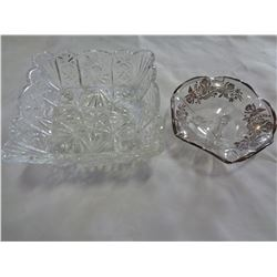 SILVER DISH AND PINWHEEL DISH