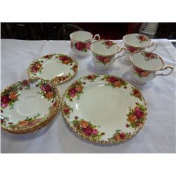ROYAL ALBERT OLD COUNTRY ROSE CUPS, SAUCERS, AND PLATES, AND OTHER