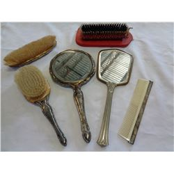 LOT OF VANITY MIRRORS AND BRUSHES