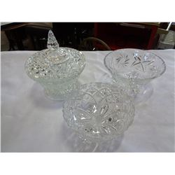 LIDDED CRYSTAL BOWL AND 2 CRYSTAL BOWLS