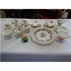 ROYAL ALBERT CHINA CUPS AND SAUCERS, AND PLATE